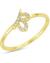 Bony Levy - 18k Yellow Gold Diamond Detail Cutout Ring - 0.06 Ctw - Lyst