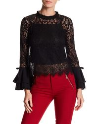 Gracia - Layered Bell Sleeve Lace Blouse - Lyst