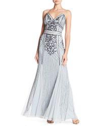 Marina - Beaded V-neck Gown - Lyst