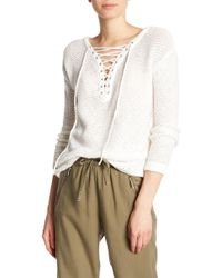 Dex - Lace-up V-neck Long Sleeve Sweater - Lyst