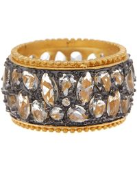 Freida Rothman - Rhodium & 14k Gold Plated Sterling Cz Silver Anniversary Cigar Band Ring - Lyst