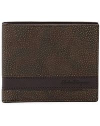 Ferragamo - Striped Bifold Leather Wallet - Lyst