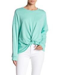 Lush - French Terry Knot Front Sweater - Lyst