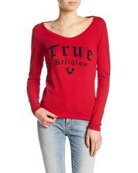 True Religion - Rounded V-neck Script Long Sleeve Tee - Lyst
