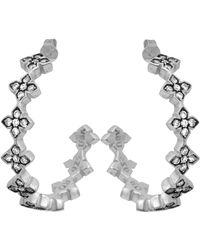 King Baby Studio - Sterling Silver Large Pave White Cz Mb Cross Hoops - Lyst