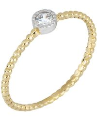 Bony Levy - 18k Yellow & White Gold Bezel Set Diamond Solitaire Beaded Ring - 0.05 Ctw - Lyst