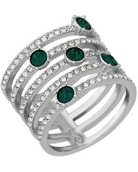 Swarovski - Creativity Rhodium Plated Emerald Crystal Ring - Size 7 - Lyst