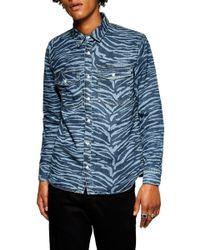 TOPMAN - Tiger Stripe Print Denim Shirt - Lyst