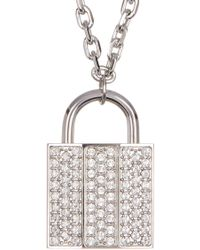 Swarovski - Crystal Pave Lock Pendant Necklace - Lyst