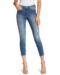 NYDJ - Ami Faux Pearl & Distressed Ankle Jeans - Lyst