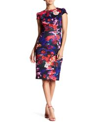 Betsey Johnson - Cap Sleeve Floral Scuba Midi Dress - Lyst