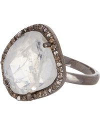 Adornia - Sterling Silver Diamond Halo Moonstone Ring - Lyst