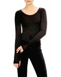 BLANC NOIR - Varsity Mesh Panel Bodysuit - Lyst