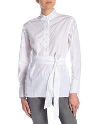 513c042049a Lyst - Ashley Stewart Belted Waist Striped Tunic in Gray