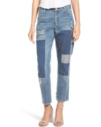Tinsel - Embroidered Patch Boyfriend Jeans - Lyst