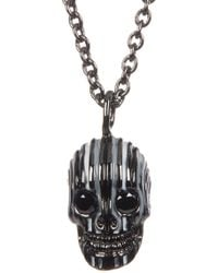 Link Up - Enamel Skull With Silvertone Necklace - Lyst