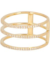Ron Hami - 14k Yellow Gold Pave Diamond Triple Band Ring - 0.28 Ctw - Lyst