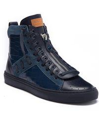 Bally Hekem Crocodile Embossed Leather High-top Sneaker