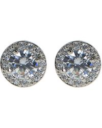 CZ by Kenneth Jay Lane - Prong Set Cz Halo Stud Earrings - Lyst