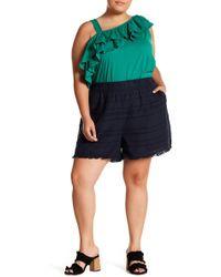 Joe Fresh - Striped Fringe Hem Shorts (plus Size) - Lyst