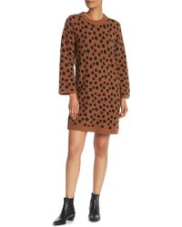 d741f47a9f7 Madewell - Wool Blend Leopard Print Sweater Dress - Lyst