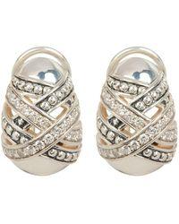 Lagos - Sterling Silver Embrace Diamond Omega Oval Stud Earrings - 0.64 Ctw - Lyst