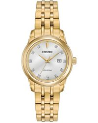 Citizen - Women's Diamond Accented Stainless Steel Casual Watch - 0.0053 Ctw - Lyst