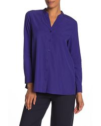 Eileen Fisher Mandarin Collar Shirt (regular & Petite) - Blue
