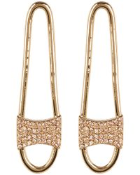 Rebecca Minkoff - Pave Crystal Safety Pin Drop Earrings - Lyst