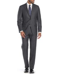 Hickey Freeman Light Gray Stripe Two Button Notch Lapel Wool Classic Fit Suit