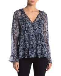 Lucky Brand - Bell Sleeve Printed Top - Lyst