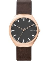 Skagen - Men's Greenen Leather Strap Watch - Lyst