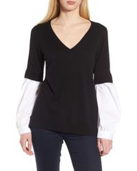 Lyst - Trouvé Ruched Sleeve Cardigan in Black 7f88c8e65