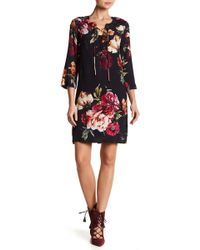 Karen Kane - Floral Lace-up Dress - Lyst