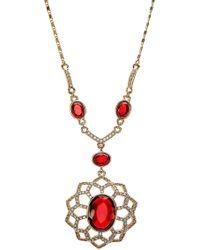 Carolee - Pave Openwork Flower Pendant Necklace - Lyst