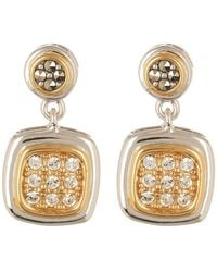 Judith Jack - Two-tone Swarovski Crystal Button Drop Earrings - Lyst