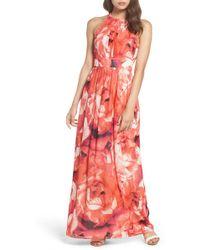 Eliza J - Print Chiffon Fit & Flare Maxi Dress - Lyst