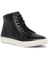 Kenneth Cole Reaction - Embossed High Top Leather Trainer - Lyst