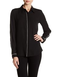 T Tahari - Tyra Contrast Piping Blouse - Lyst