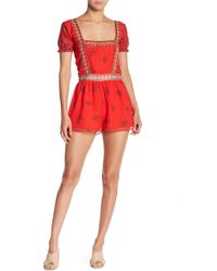 Endless Rose - Square Neck Short Sleeve Romper - Lyst