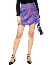 TOPSHOP - Check Frill Mini Skirt - Lyst