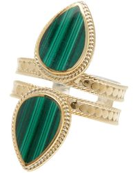 Anna Beck - 18k Gold Plated Sterling Silver Double Malachite Teardrop Ring - Lyst