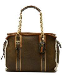 Longchamp - More Genuine Shearling Lined Snake Embossed Shoulder Bag - Lyst