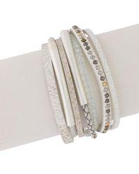 Saachi - Madrid Crystal Beaded Multi-strand Leather Wrap Bracelet - Lyst