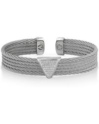 Alor - 18k White Gold Stainless Steel Cable & Diamond Cuff Bracelet - 0.17 Ctw - Lyst