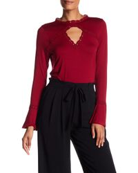Adrianna Papell - Lace Trim Keyhole Knit Top - Lyst