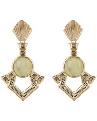 House of Harlow 1960 - Patolli Bezel Set Yellow Turquoise Cabochon Geo Drop Earrings - Lyst