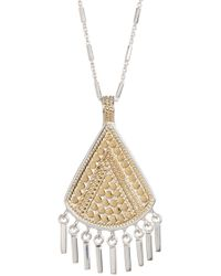 Anna Beck - Sterling Silver Two-tone Reversible Fringe Drop Pendant Necklace - Lyst
