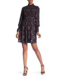 Laundry by Shelli Segal - Printed Smocked Dress - Lyst