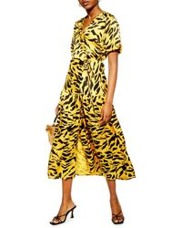 TOPSHOP Jacquard Wrap Dress - Yellow